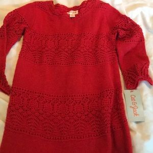 NWT cat and jack crocheted red sweater dress 6/6x